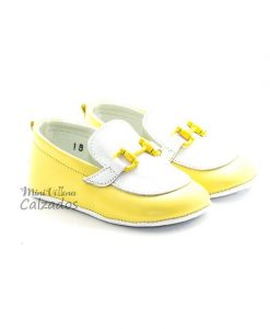 Zapato Bebé Mocasines de Niño Color Amarillo y Blanco Rizitos