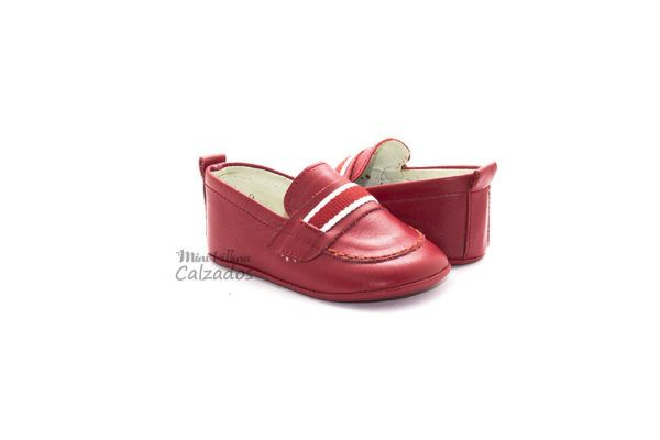 Zapato Bebé Mocasines Color Rojo Rizitos